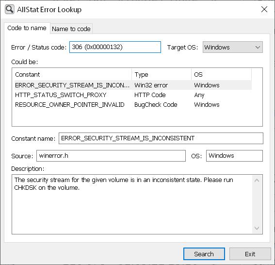 AllStat Error Lookup utility